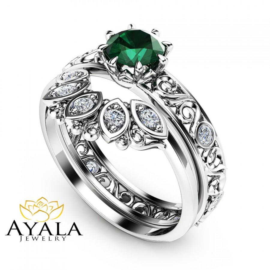12 CT Natural Emerald Engagement Ring Set 14K White Gold Rings