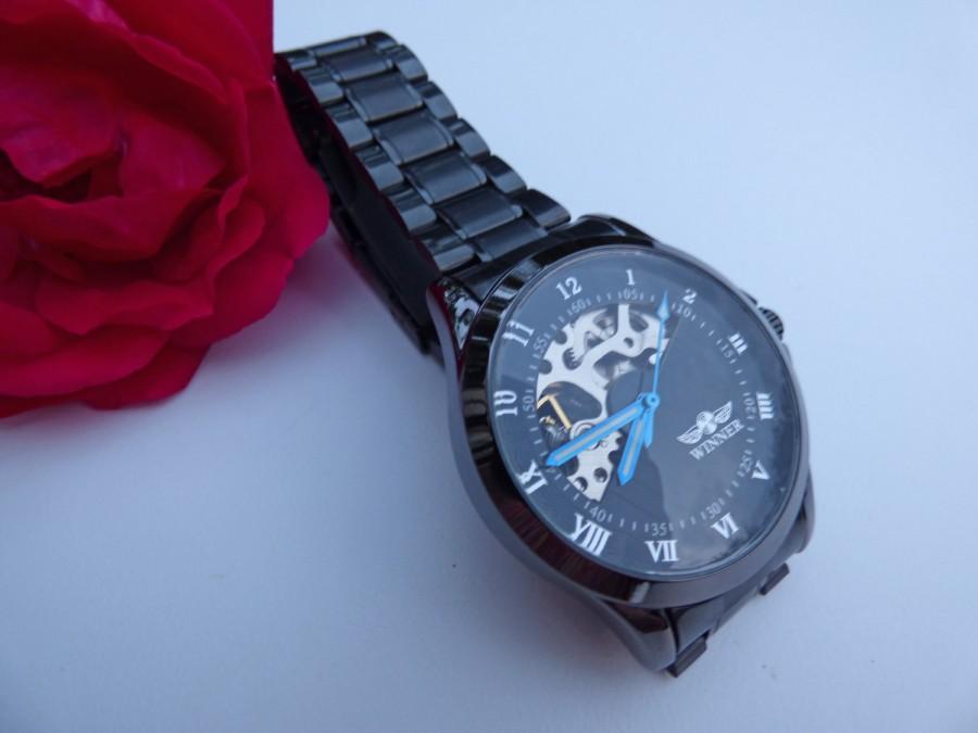 زفاف - Classic Black Wrist Watch with Black Wristband - Men - Unisex - Steampunk - Groomsmen - Watch - Item MWA298