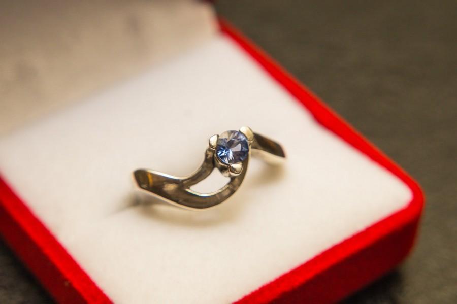Свадьба - Blue Sapphire Ring, Silver Sapphire ring,4,5mm Genuine Blue Sapphire, Sapphire Engagement Ring, Ceylon Sapphire Ring