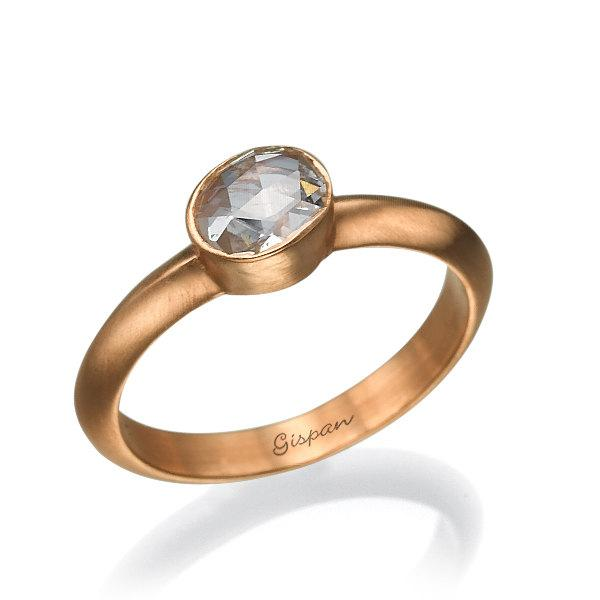 Old Cut Diamond Ring Rose Gold Engant Wedding Solitaire Band Engagement