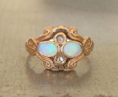 Opal Engagement Ring Unique Engagement Ring Vintage Opal Diamond