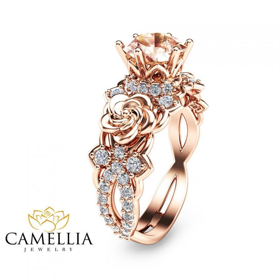 Свадьба - 14K Rose Gold Morganite Engagement Ring Unique Morganite Engagement Ring Rose Gold Floral Engagement Ring
