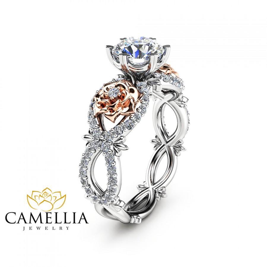 Mariage - Moissanite Engagement Ring 14K Gold Unique Engagement Ring  Unique Moissanite Ring