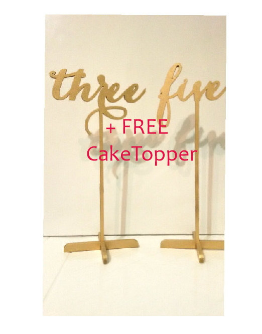 Wedding - 15 Freestanding Gold Table Numbers. Wedding Numbers. Table numbers. + FREE Cake Topper