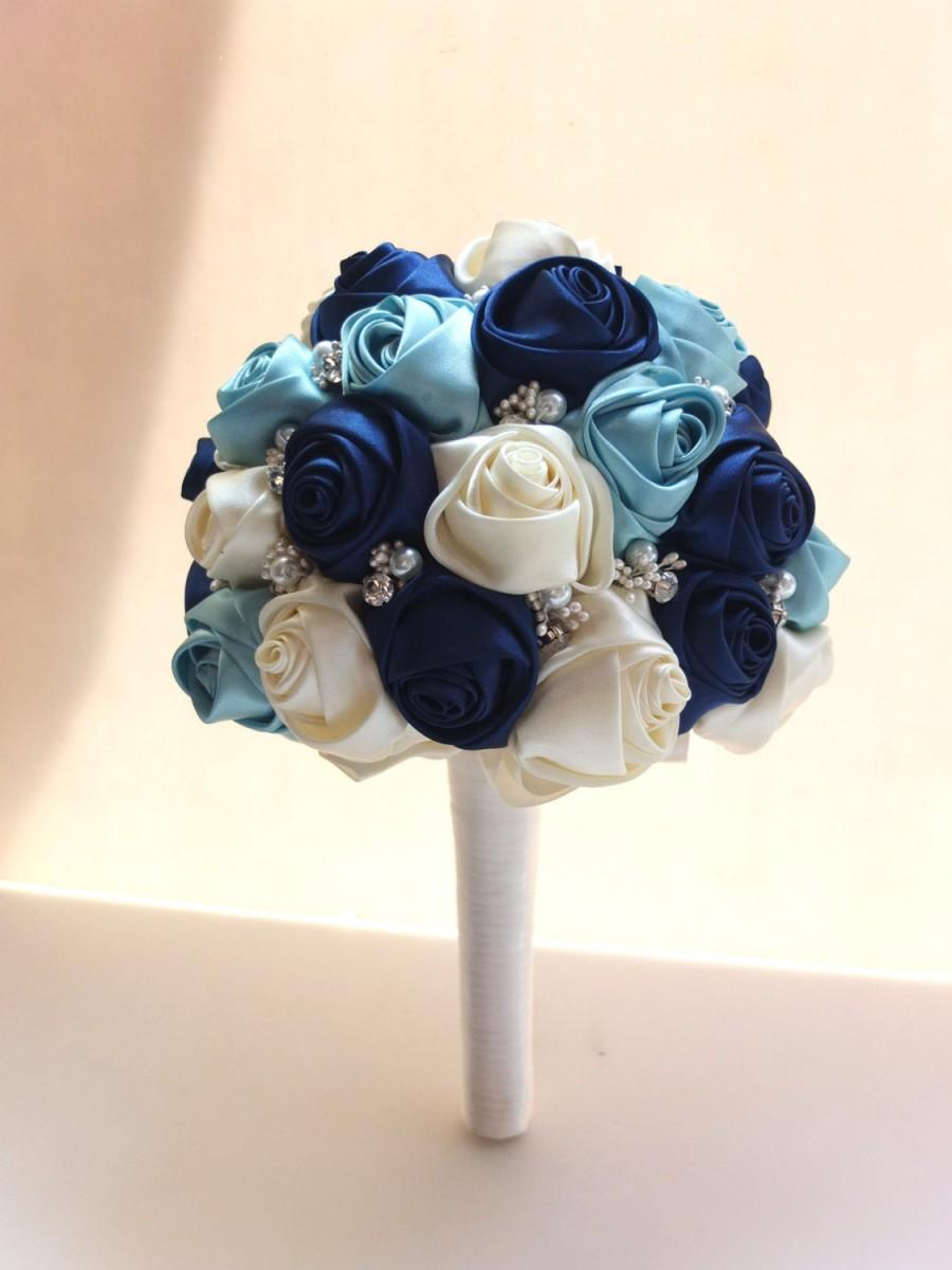 Mariage - Handmade Satin Rose Bouquet- Navy, Tiffany Blue & Ivory Flower accented with rhinestone (Large, 9 inch)