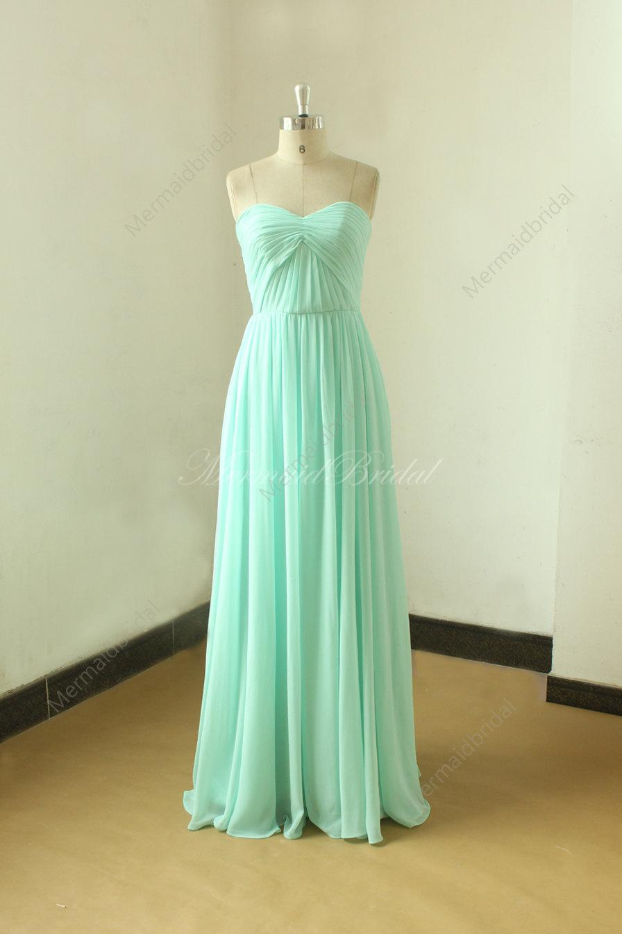 Simple Strapless Mint Blue Bridesmaid Dress, Prom Gown,homecoming ...