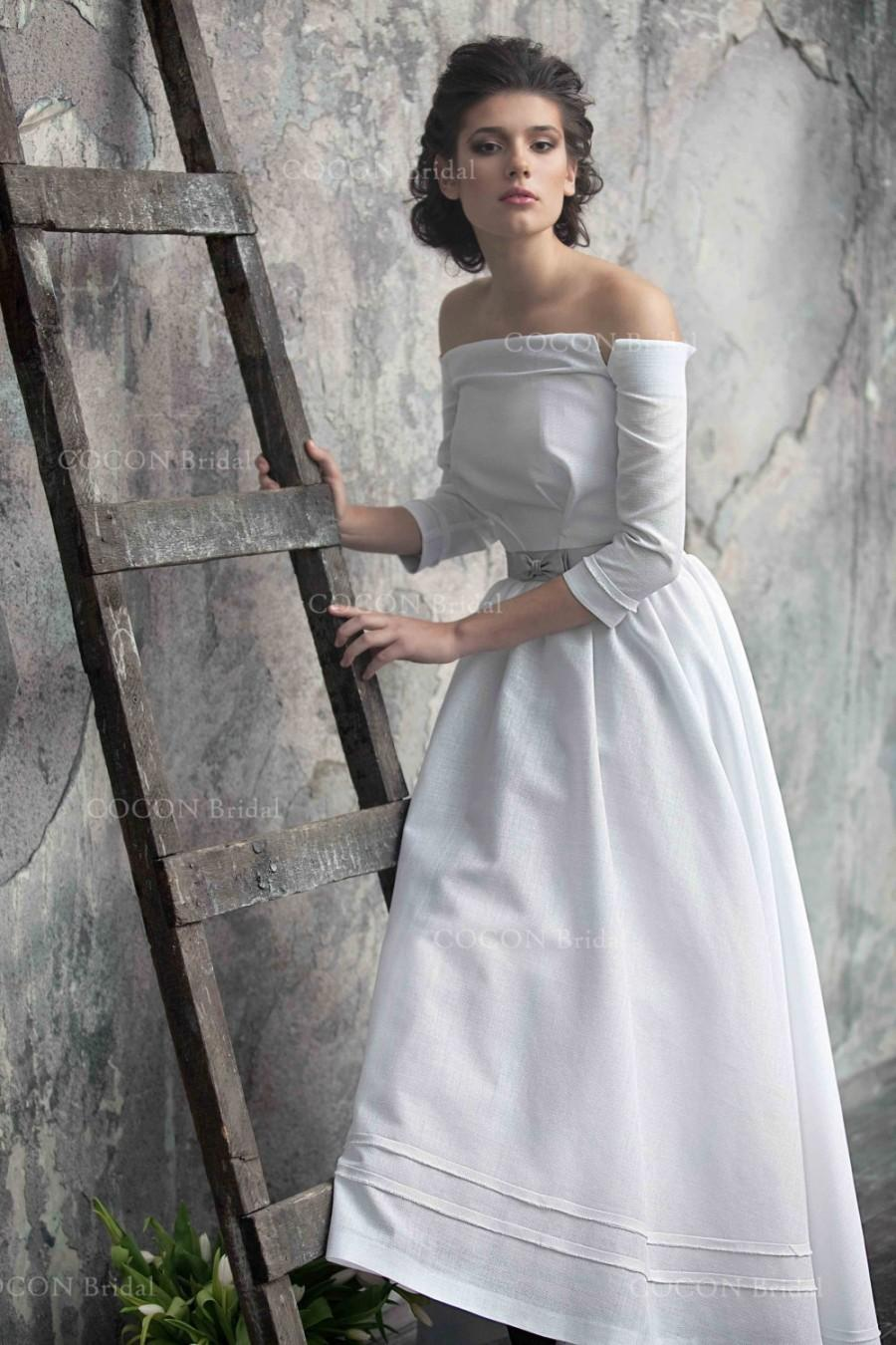 Country Linen Wedding Gown Dream Dress Rustic Vintage Inspiration Open Soulder Tea Length Albali