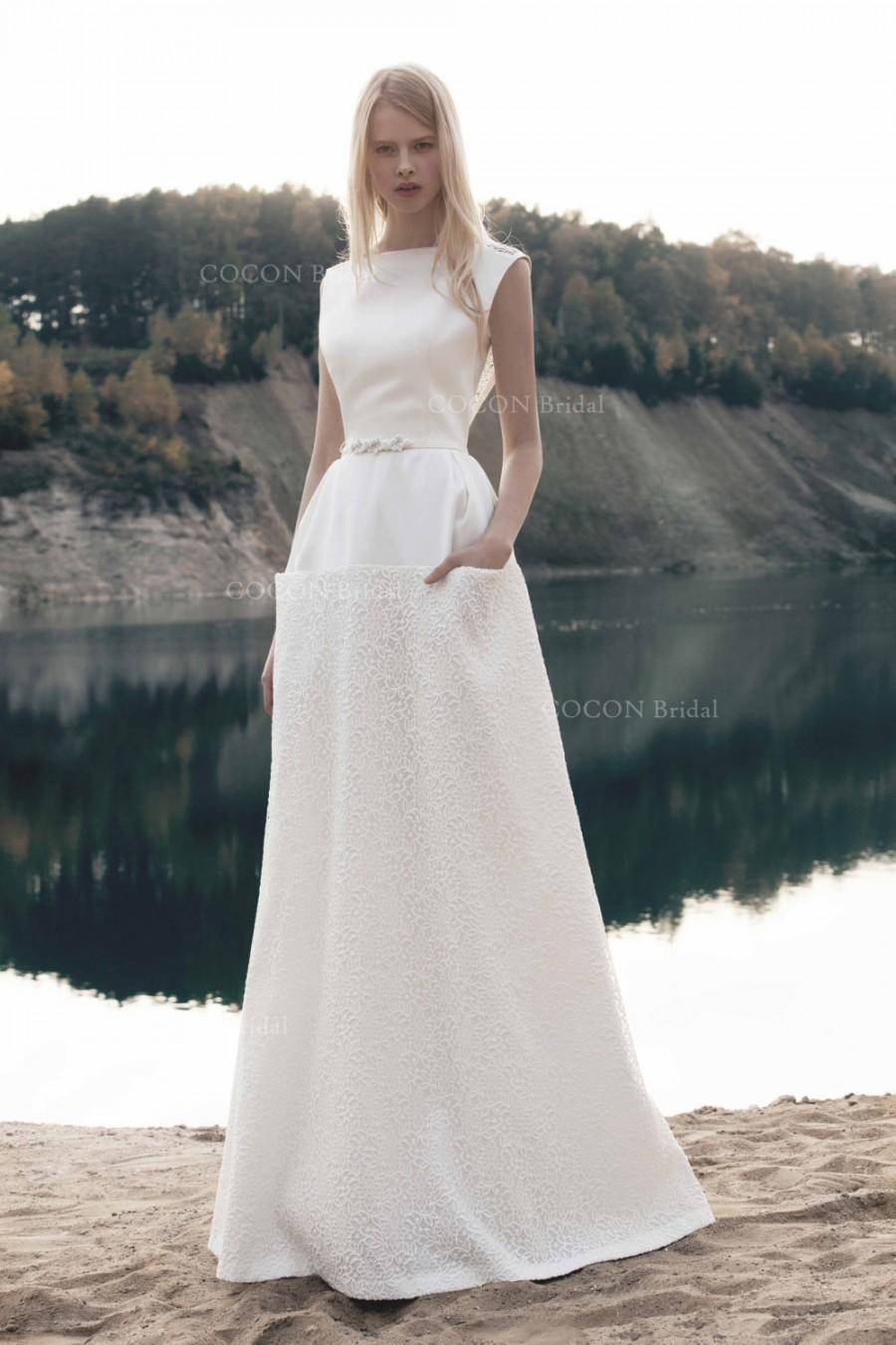 A Line Stunning And Elegant Wedding Mikado Dress With Corded Lace