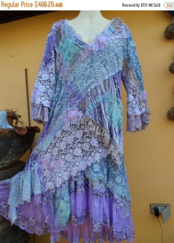 "Hochzeit - 20% OFF vintage inspired shabby bohemian gypsy dress ..medium to 42"" bust..."