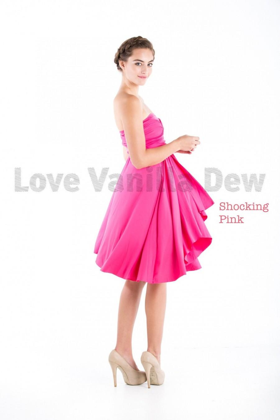 69dace00979d Bridesmaid Dress Infinity Dress Shocking Pink Knee Length Wrap Convertible  Dress Wedding Dress