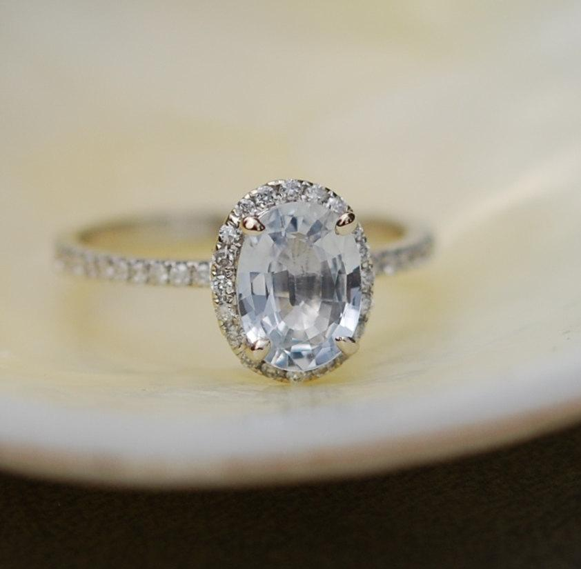white sapphire ring white gold engagement ring 1 41ct oval