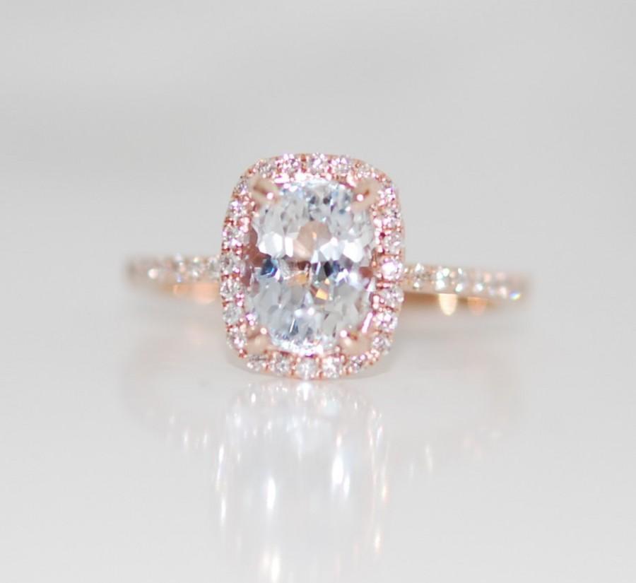 Mariage - White Sapphire Ring 14k Rose Gold Diamond Engagement Ring 1.87ct cushion white sapphire