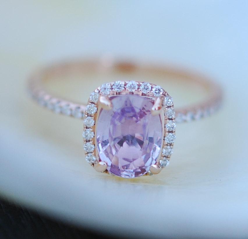 زفاف - Pink Sapphire ring 14k rose gold diamond  Engagement Ring 1.45ct Cushion Peach Pink Champagne sapphire