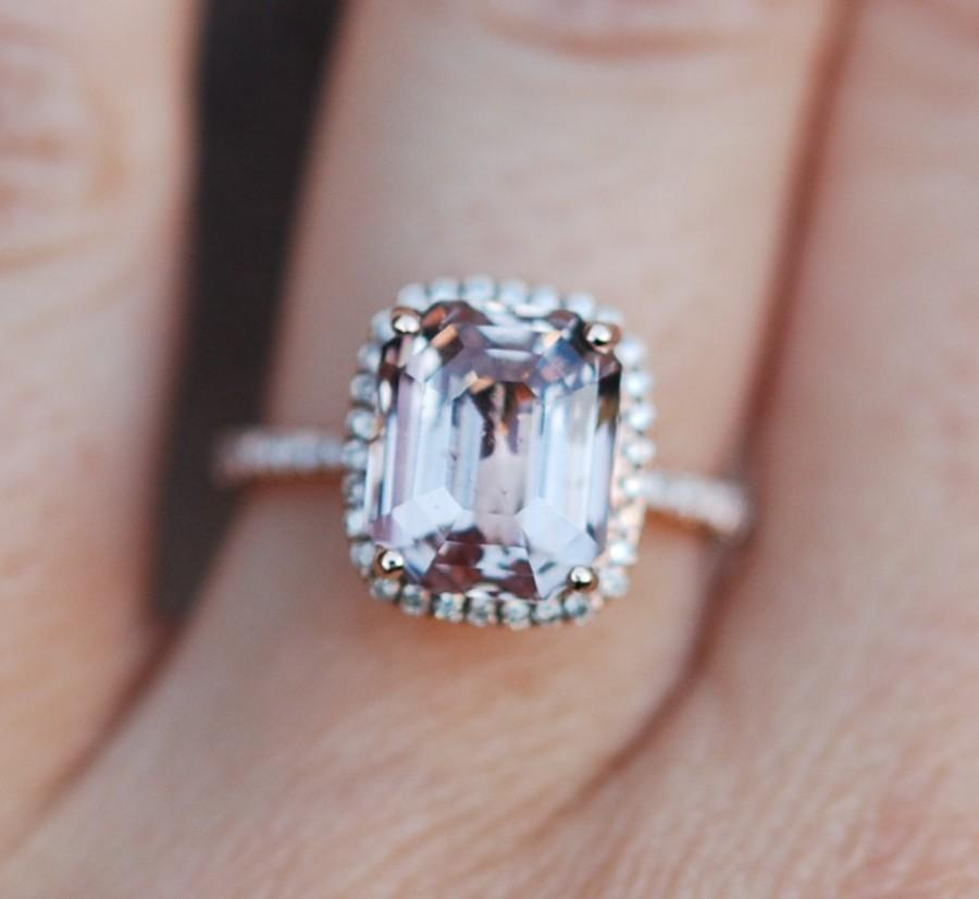 Mariage - Peach Sapphire Ring Rose Gold Engagement Ring 5.86ct cushion 14k rose gold diamond ring.