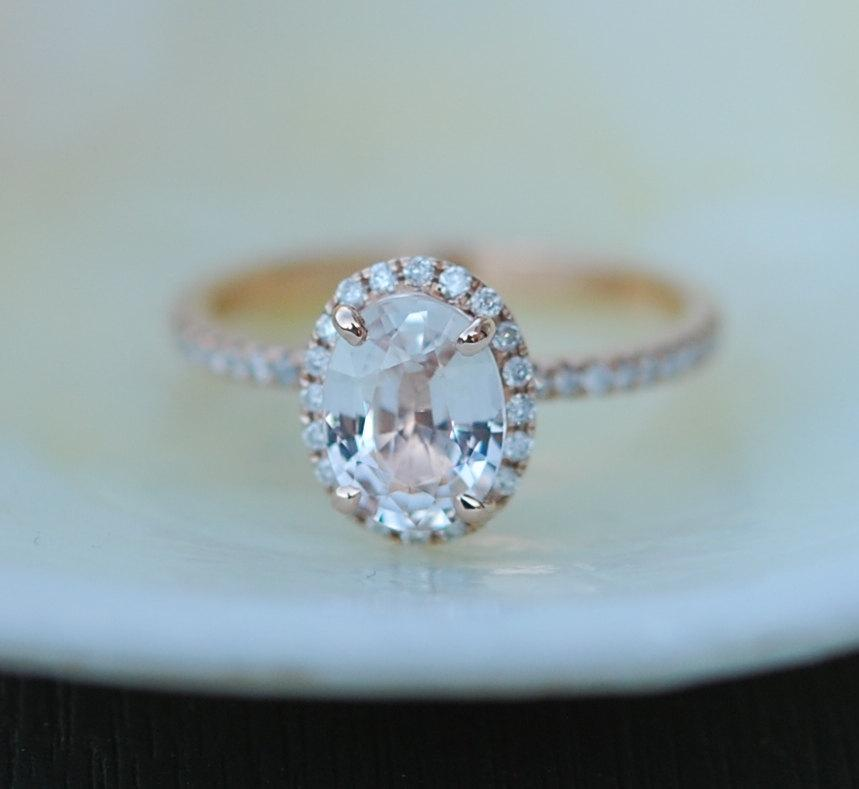 White Sapphire Ring Rose Gold Engagement Ring 154ct Oval 14k Rose