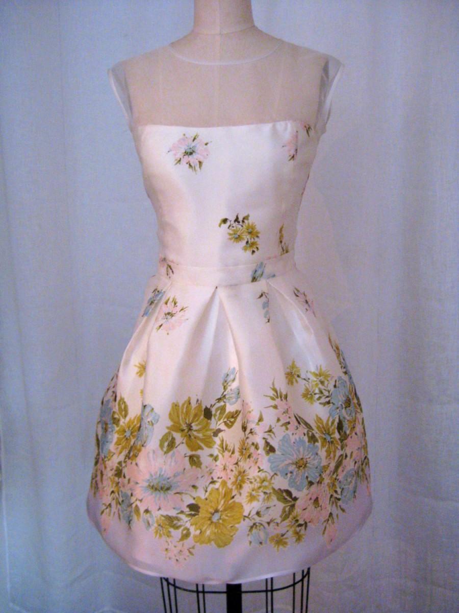 Düğün - Vintage Pastel Floral 60's inspired Short Silk Gazar Dress - Limited Edition Made-to-Order