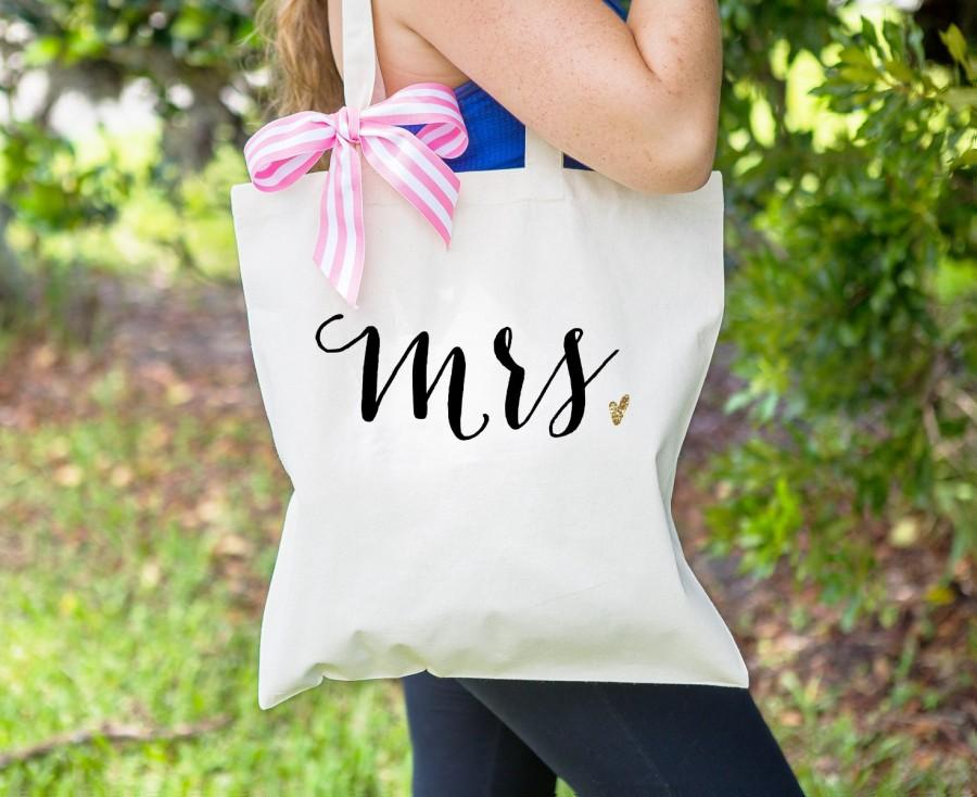 Mariage - Mrs Bag for Wedding or Bridal Shower Gift, Canvas Bag for Newlywed Striped Ribbon Bag for Wedding Gift Tote Bag for Wedding ( Item - BMR300)