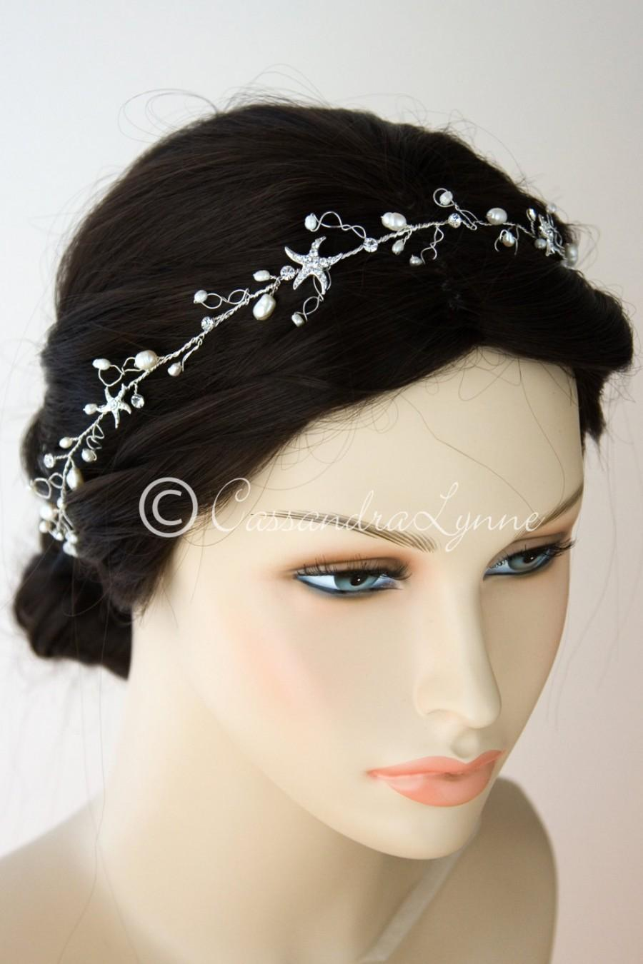 Mariage - Beach Wedding Rhinestone Starfish Bridal Hair Wrap Headband Forehead Freshwater Pearls Organza Ribbon Headpiece