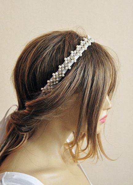 زفاف - Wedding hair accessories, Rhinestone and Pearl headband, bridal headband, wedddings, Hair Accessory, hair accessories, bride, headpiece