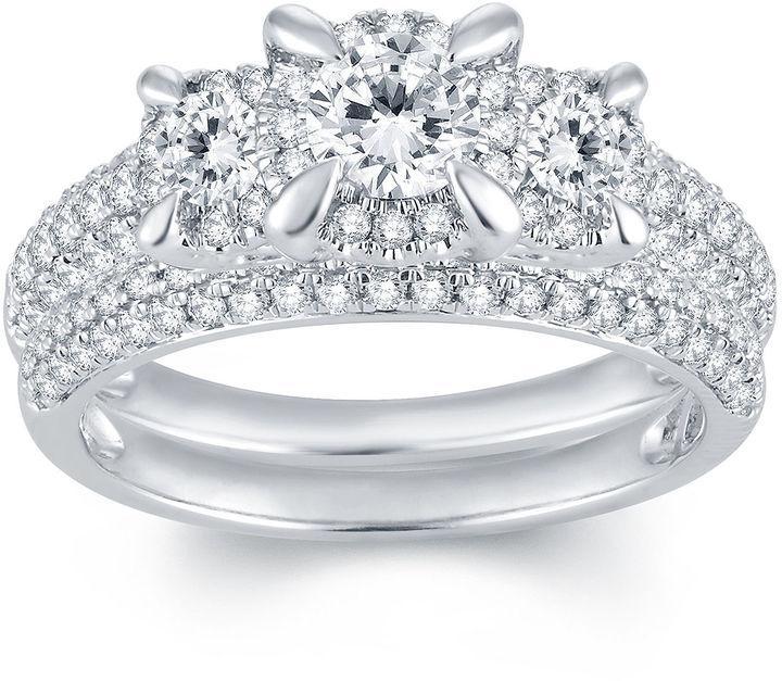 MODERN BRIDE 1 1/3 CT. T.W. Diamond 14K White Gold Three