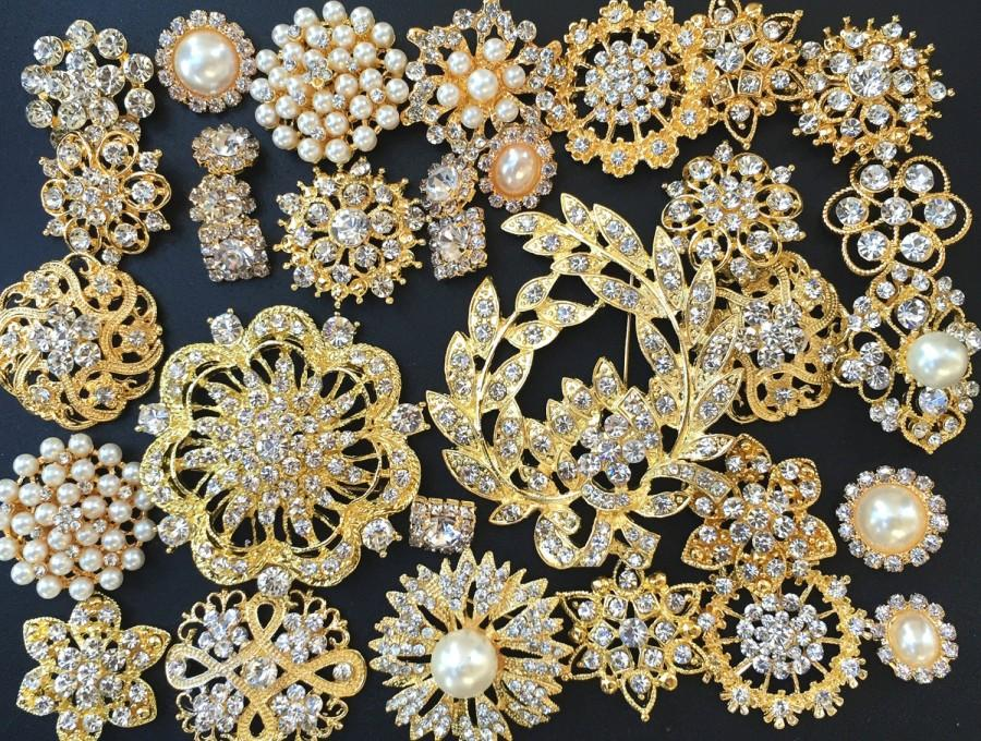 32 Pcs Gold Brooch Bouquet Diy Kit Wholesale Assorted Lot Set