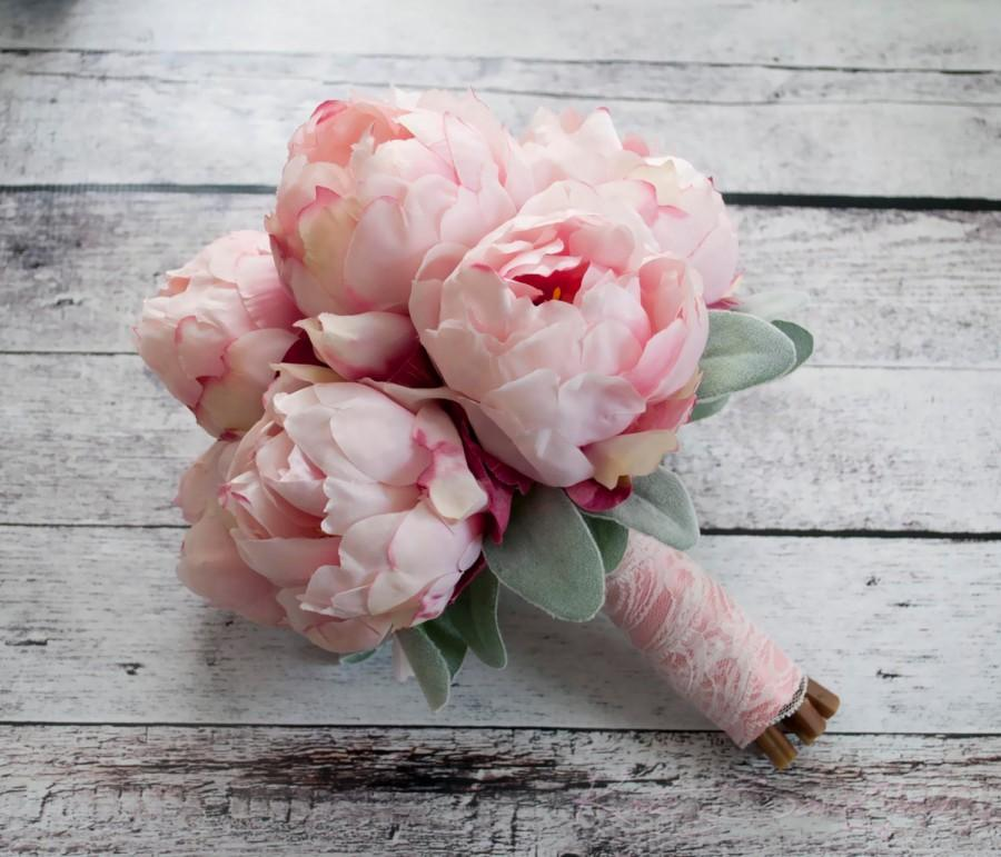 زفاف - Blush Pink Peony Bouquet with Lamb's Ear and Lace