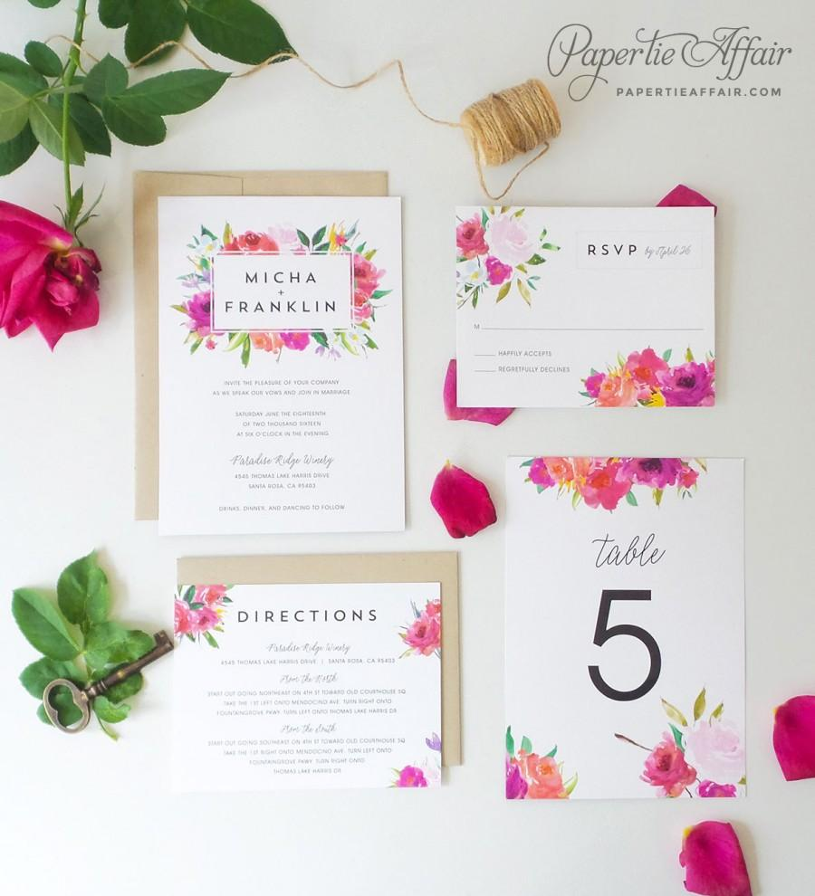 Floral Wedding Invitation - Watercolor Floral Wedding Invitation ...