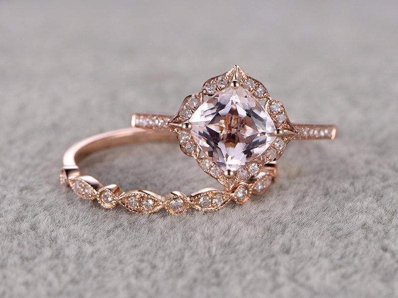 2pcs Morganite Bridal Ring Set Engagement Ring Rose Gold Diamond