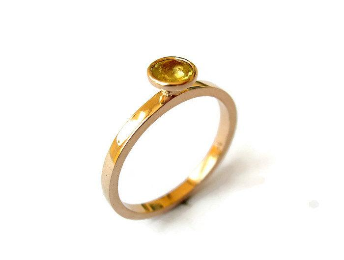 Wedding - Rose Gold Engagement Ring, Yellow Sapphire Ring, Minimalist Ring, Delicate Red Gold Ring with Yellow Sapphire, Gemstone Sapphire Jewelry