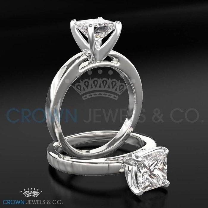 Mariage - Diamond Ring Women Princess Cut Engagement Ring 2.30 Carat H SI2 Certified Diamond 14K White Gold Ring