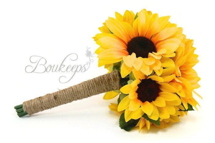 Свадьба - CHOOSE RIBBON COLOR - Sunflower Bouquet, Sunflower Bridal Bouquet, Flower Girl Bouquet, Toss Bouquet, Sunflower Wedding, Sunflower, Bouquet