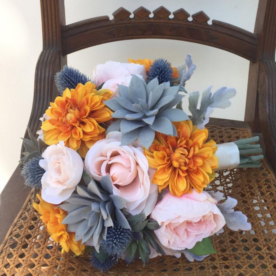 Mariage - Orange Blush Succulent Silk Wedding Bouquet with Peony, Echeveria, Thistle, Dahlia, Rose & Dusty Miller