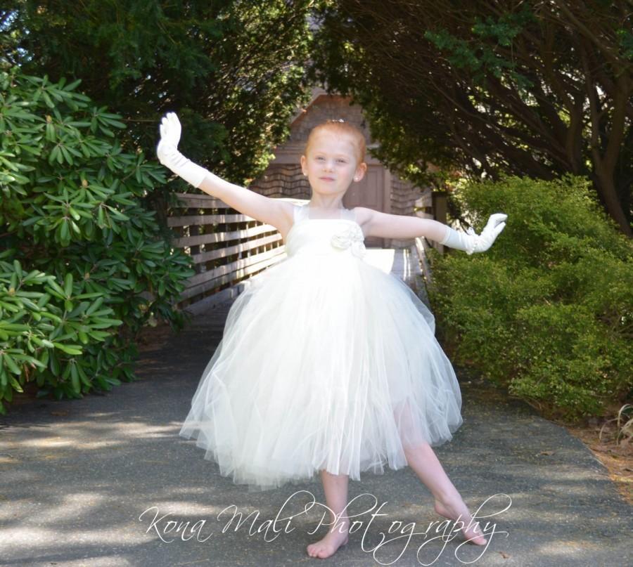 Düğün - The Victoria...Flower Girl Tutu Dress...Flower Girl Dress...Ivory Tutu Dress...Birthday Tutu Dress... size 1T,2T,3T4T,5T,6,7/8