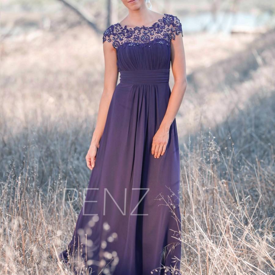 Hochzeit - 2016 Purple Bridesmaid dress Lace, Illusion Wedding dress, Long Chiffon Womens Party dress, Maxi dress, Prom dress Floor length (T136)