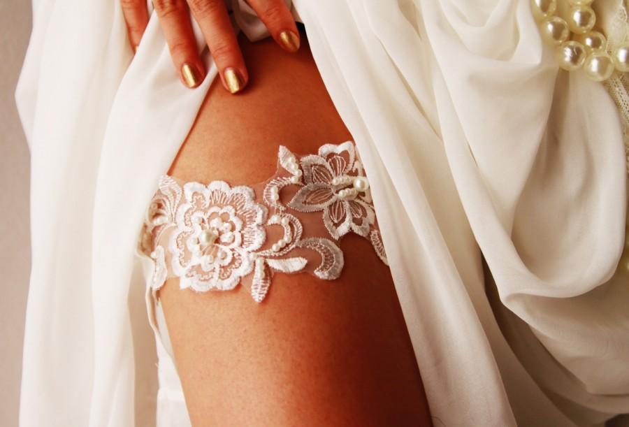 Bridal Garter Wedding Embroidery Lace Belt Ivory Rustic Boho Bride Vintage Inspired