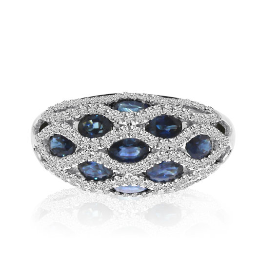 Wedding - 1.80 Carat Sapphire & Diamond Domed Lattice Ring 14k White Gold - Mother's Day Gifts For Women - Sapphire Jewelry - For Her - Anniversary