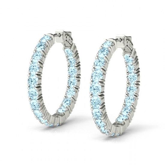 5 40 Carat Aquamarine Hoop Earrings 14k Or 18k White Gold Gemstone For Women Inside Out