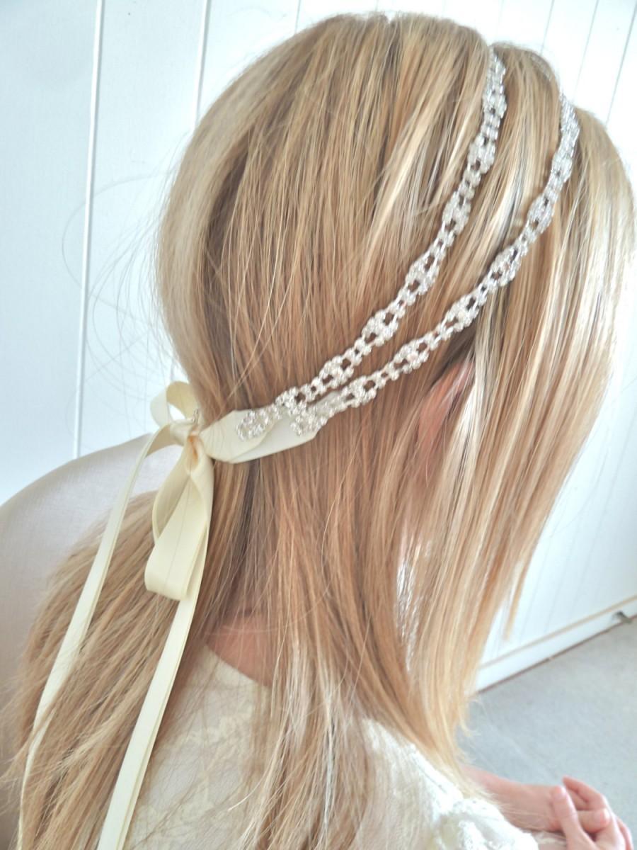 Wedding - Bridal ribbon headband, bridal crystal headpiece, crystal ribbon headband - MONA DELUX - ready to ship