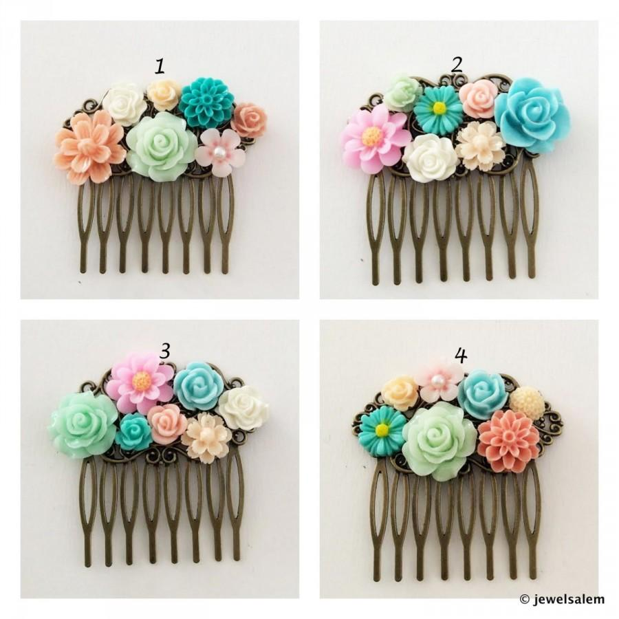 Custom Wedding Hair Comb Bespoke Bridesmaid Gift Flower Hair Slide ...