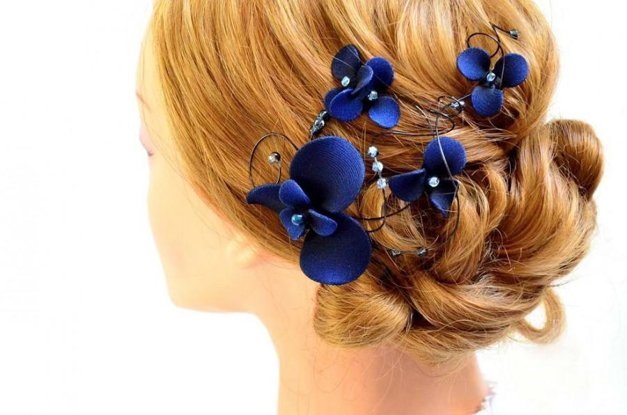 Navy blue fascinator Bridesmaids navy head piece Wedding hair clip Wedding  hair accessories Bridesmaids hair flower d018849d29f