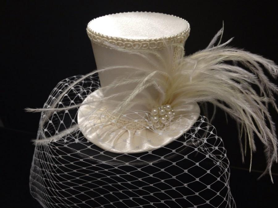 Off White Ivory Crepe Satin Mini Top Hat with Birdcage Veil for Wedding 30c81eeac92