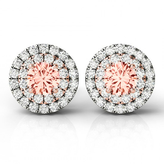 2 10 Ctw Morganite And Diamond Double Halo Stud Earrings 14k Two Tone Gold Valentine S Day Gift Ideas For Her Women