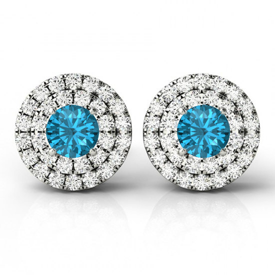 Blue Topaz Double Diamond Halo Stud Earrings By Raven Fine Jewelers Anniversary Gifts For Her Wedding Gift Ideas