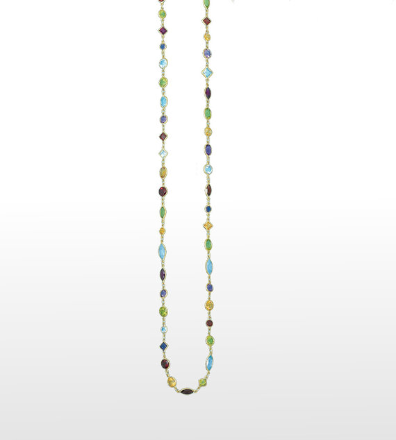 Hochzeit - Multicolor Gemstone Necklace 14k Yellow Gold - Multi Gemstone Necklace Gold - For Women - Anniversary Wedding Gift, Gifts - Station Necklace