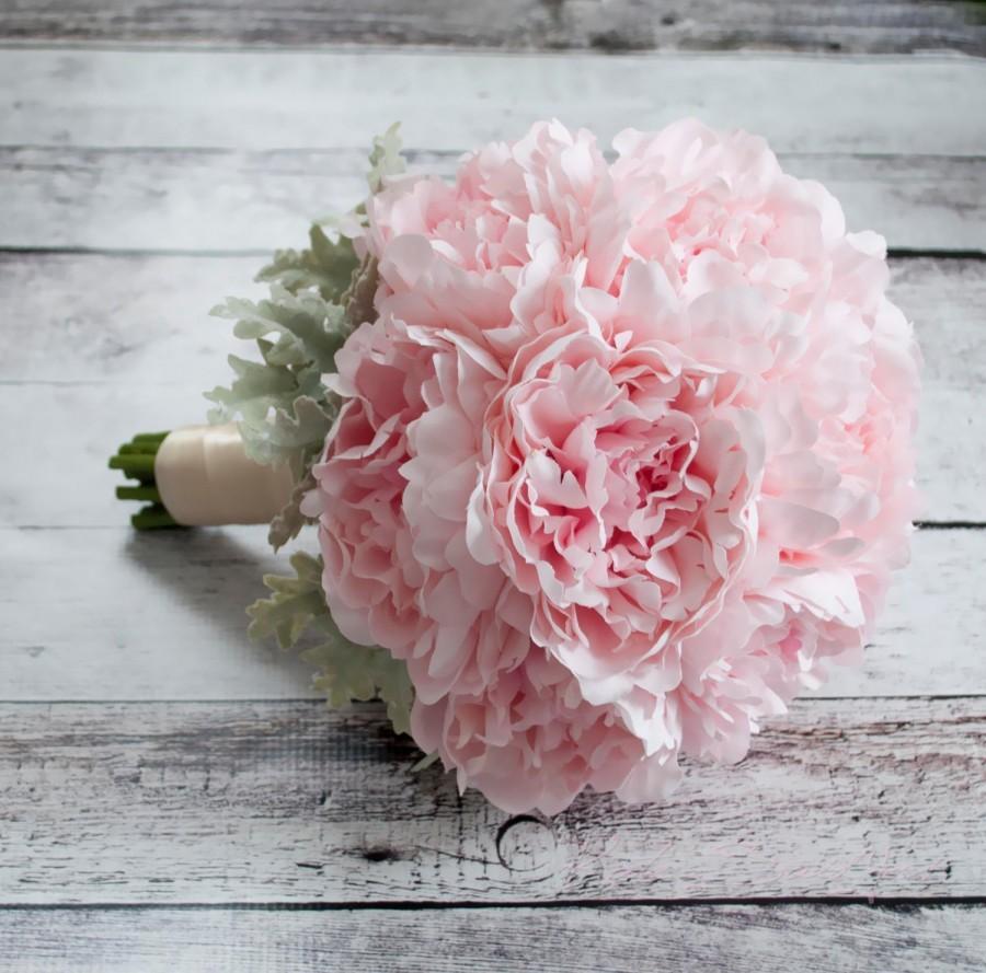 Hochzeit - Blush Pink Peony Wedding Bouquet