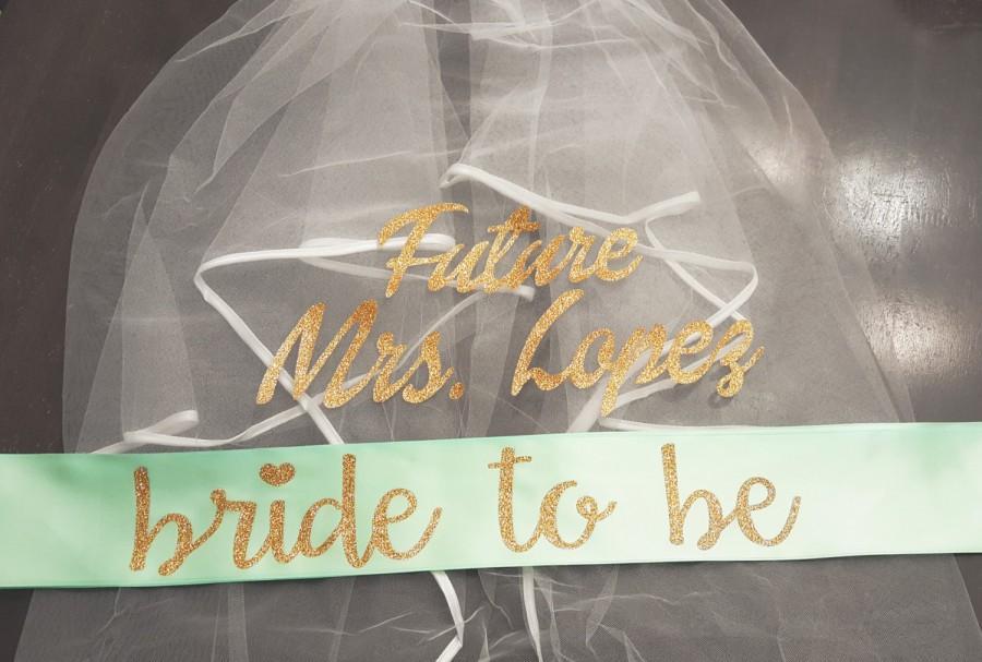 Mariage - Sash and Veil, Bachelorette Veil, Bride to Be Sash, Mint Bride to Be Sash, Sash and Veil Set, Bachelorette Sash, Future Mrs Sash