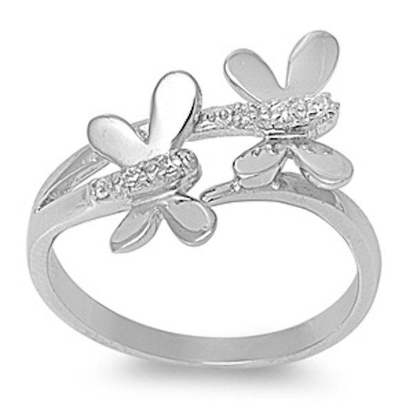 Mariage - Dragonfly Ring Solid 925 Sterling Silver Brilliant Cut Round White Clear Russian Ice Diamond CZ Dragonfly Butterfly Ring Good Luck Gift