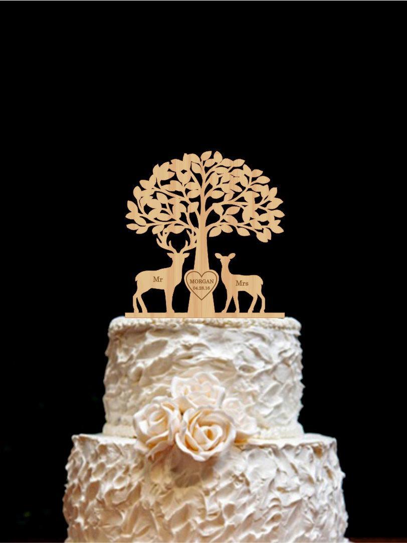 Mariage - Deer Cake Topper Wedding Cake Topper Mr & Mrs Deer Cake Topper Buck and Doe Rustic Country Chic Wedding