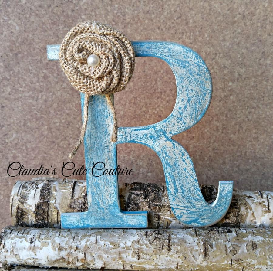 Mariage - Burlap Flowers,Burlap Cake Topper ,Rustic Wedding Cake Topper ,Rustic Wood Monogram ,Rustic Wedding Decor,Rustic flowers,Wedding Accessories