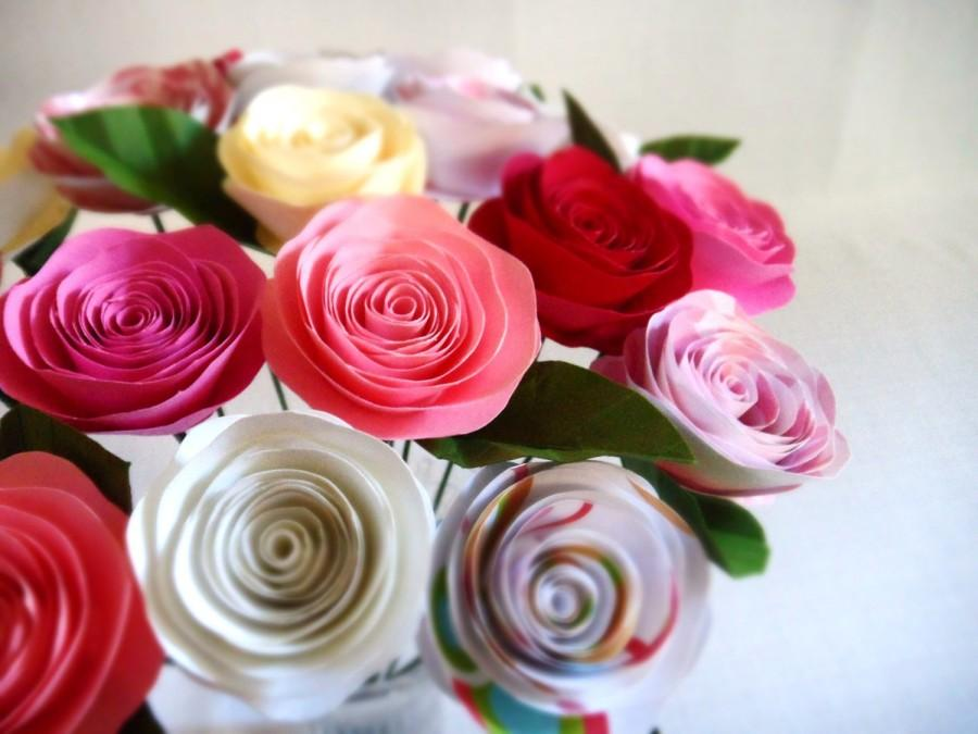 Mariage - Spiral Paper Roses - Strawberry Bouquet